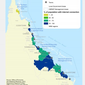 GBR Coastal Communities Percent of Population with Internet Connection by LGA 2012