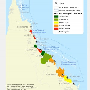 GBR Coastal Communities Resident Sewage Connections by LGA 2011