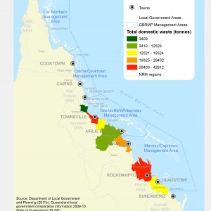 GBR Coastal Communities Total Domestic Waste by Weight by LGA 2012
