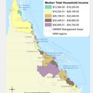 Median total household annual income, by Local Government Area ($000)