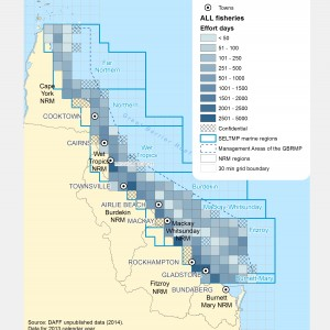 Commercial Fishing (ALL Fisheries and Harvest licences) Effort Days within GBR fishing grids in 2013.