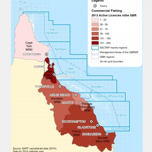 2014 Commercial fishing licences that were active in the GBR in 2013, by NRM region of registered address