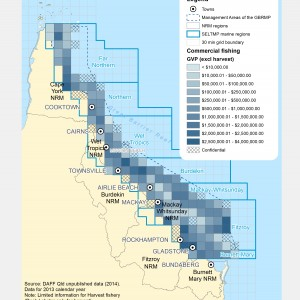 Commercial Fishing (Line, Net, Pot, Trawl, and Rocklobster (but no other harvest)) GVP within GBR fishing grids in 2013.