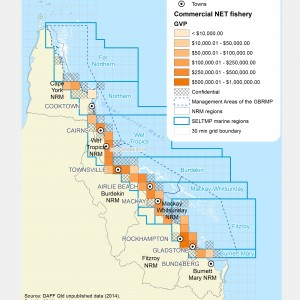 Commercial NET Fishing GVP produced within GBR fishing grids in 2013.