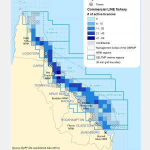Commercial LINE Fishing Licences active within GBR fishing grids in 2013.
