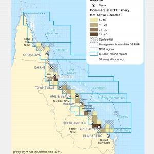Commercial POT Fishing active licences within GBR fishing grids in 2013.