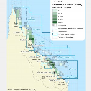 Commercial HARVEST Fishing licences active within GBR fishing grids in 2013.