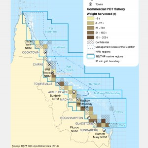 Commercial POT Fishing harvest (by weight) within GBR fishing grids in 2013.