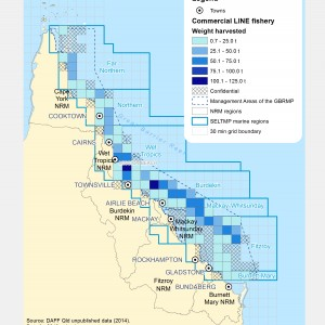 Commercial LINE Fishing Harvest (by weight) within GBR fishing grids in 2013.