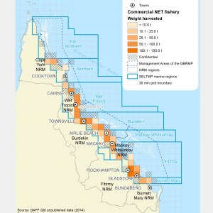 Commercial NET Fishing harvest (by weight) within GBR fishing grids in 2013.