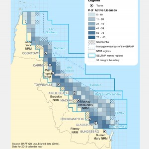 Commercial Fishing (ALL Fishing And Harvest) Licences active within GBR fishing grids in 2013.