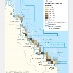 Commercial POT Fishing Effort (# of days fished) Days within GBR fishing grids in 2013.