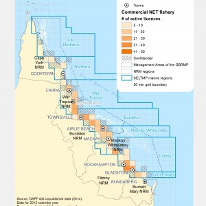 Commercial NET Fishng Active Licences within GBR fishing grids in 2013.