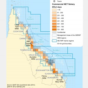 Commercial NET Fishing Effort Days (# of days fished) within GBR fishing grids in 2013.